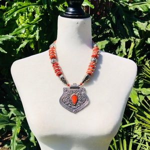 Red and silver Tibetan boho necklace